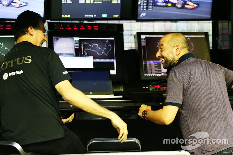 Federico Gastaldi, Lotus F1 Team, stellvertretender Teamchef, mit Gerard Lopez, Lotus F1, Teamchef