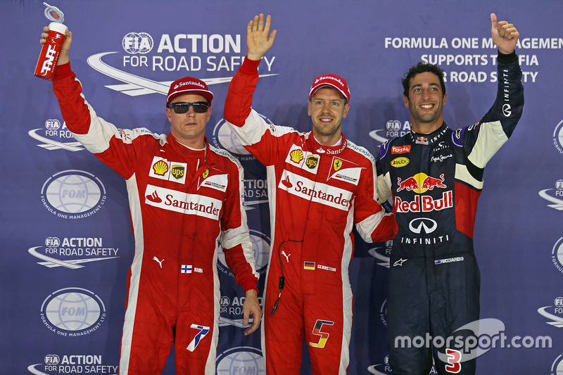 Polesitter Sebastian Vettel, Ferrari, second place Daniel Ricciardo, Red Bull Racing, third place Kimi Raikkonen, Ferrari
