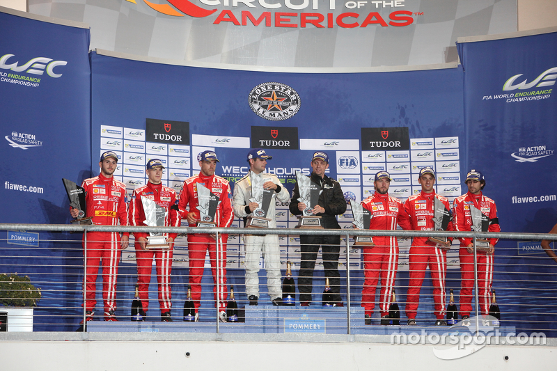 Privateer LMP1 podium: first place Simon Trummer, Pierre Kaffer, ByKolles Racing, second place Dominik Kraihamer, Daniel Abt, Alexandre Imperatori, Rebellion Racing, third place Nicolas Prost, Nick Heidfeld, Mathias Beche, Rebellion Racing