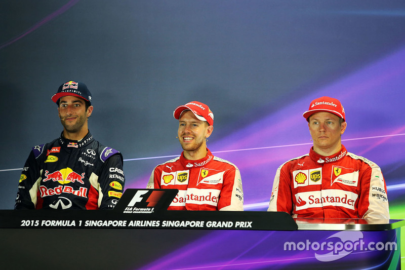 Press conference: winner Sebastian Vettel, Ferrari, second place Daniel Ricciardo, Red Bull Racing, third place Kimi Raikkonen, Ferrari