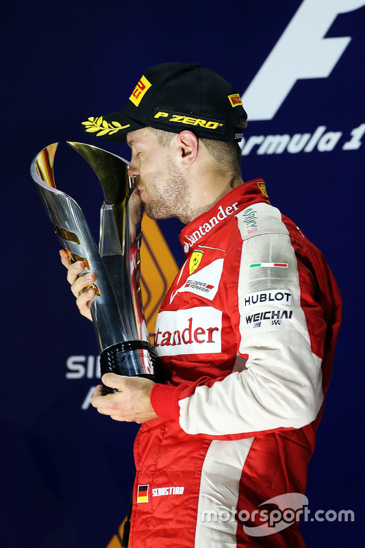 Sebastian Vettel, Ferrari celebrates on the podium