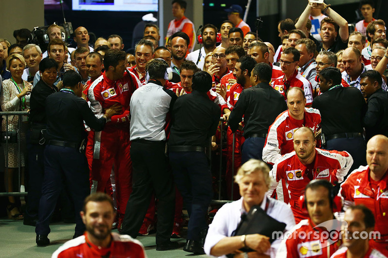 Incident involving Ferrari team and security at the podium parc ferme