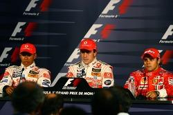 Press conference: pole winner Fernando Alonso with Lewis Hamilton and Felipe Massa