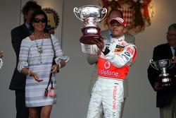 Podium: Princess Caroline of Monaco and Lewis Hamilton, McLaren Mercedes