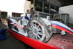 A badly wrecked Arena International Motorsport Zytek 07S