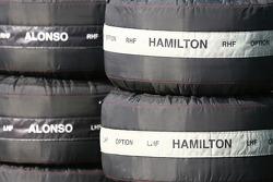 Fernando Alonso, McLaren Mercedes and Lewis Hamilton, McLaren Mercedes tyre warmers