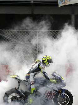 Second place Valentino Rossi does a burnout