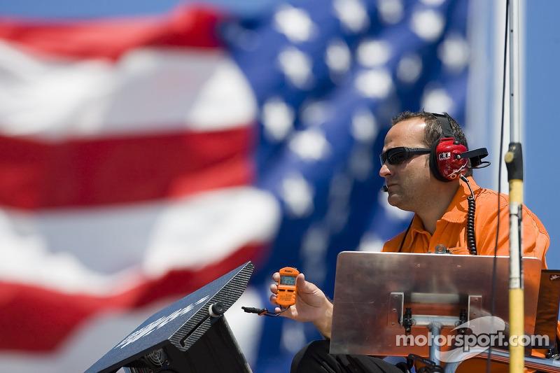 Crew Chief, Greg Zipadelli, watches his driver make a lap