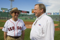 Roush Fenway Owner, Jack Roush and Edsell Ford share a laugh during the Rangers, Red Sox game at Fenway Park