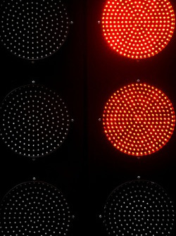 Red lights at the pitlane exit