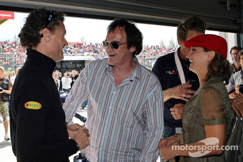 Quentin Tarantino, Regisseur; Zoe Bell, Schauspielerin; David Coulthard, Red Bull Racing