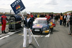 Car of Martin Tomczyk, Audi Sport Team Abt Sportsline, Audi A4 DTM, being pushed on the grid