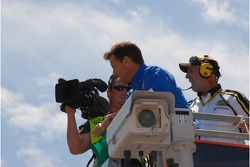 Actor and Allstate 400 at the Brickyard Grand Marshall James Denton gets ready to wave the green flag