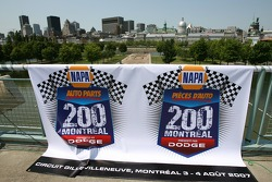 Pre-event press conference: banner for the NAPA Auto Parts 200 presented by Dodge