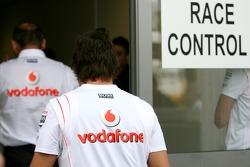 Fernando Alonso, McLaren Mercedes and Ron Dennis, McLaren, Team Principal, Chairman at Race Control