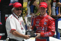 Victory lane: race winner and 2007 Indy Pro Series champion Alex Lloyd celebrates