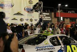 Victory lane: winner Jimmie Johnson celebrates