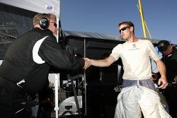 Ryan Hunter-Reay celebrates the win with Riley-Matthews Motorsports team members