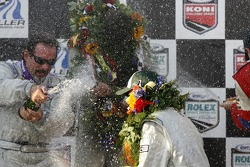 DP podium: champagne for Jim Matthews, Marc Goossens and Ryan Hunter-Reay