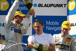 Podium: Gerhard Ungar, Chief Designer AMG, gets a champagne shower from Bruno Spengler, Team HWA AMG Mercedes Background: Paul di Resta, Persson Motorsport AMG Mercedes