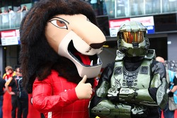 Halo man with the HRT mascot
