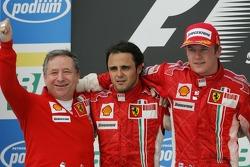 Podium: race winner and 2007 World Champion Kimi Raikkonen, second place Felipe Massa, and Jean Todt