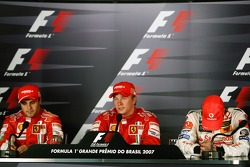 Press conference: race winner and 2007 World Champion Kimi Raikkonen, second place Felipe Massa, third place Fernando Alonso