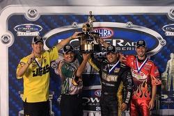 2007 Powerade Series Champions: Pro Stock champion Jeg Coughlin, Funny Car champion Tony Pedregon, Top Fuel champion Tony Shumacher, Pro Stock Motorcycle champion Matt Smith