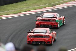 #97 GPC Sport Ferrari 430 GT: Fabrizio De Simone, Luca Drudi, Matteo Bobbi, Yves Lambert, #74 JMB Racing Ferrari F430 GT: Francisco Longo, Chico Serra, Daniel Serra