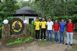 A1GP drivers Alex Yoong, driver of A1 Team Malaysia with Aaron Lim, driver of A1 Team Malaysia, Satrio Hermanto, driver of A1 Team Indonesia, Khalil Beschir, driver of A1 Team Lebanon, Sergio Jimenez, driver of A1 Team Brazil and Chris Alajajian, driver o