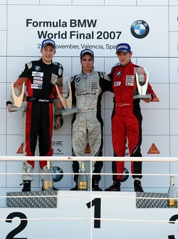 Podium: race winner Philipp Eng, provisional second place Josef Kral, provisional third place Marco Witmann