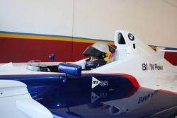 Sebastian Vettel drives a FBMW race car some demonstration laps for the fans