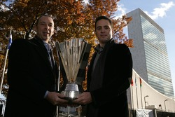 Jimmie Johnson, the 2007 NASCAR Nextel Cup Series Champion and crew chief Chad Knaus, infront of the United Nations during a New York City Landmark Tour