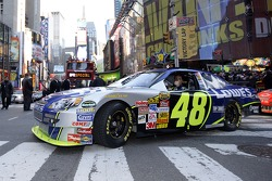 Jimmie Johnson, the 2007 NASCAR Nextel Cup Champion, drives the #48 Lowe's Chevrolet, onto 7th Ave towards Time Square in a victory lap through the streets of Midtown New York City