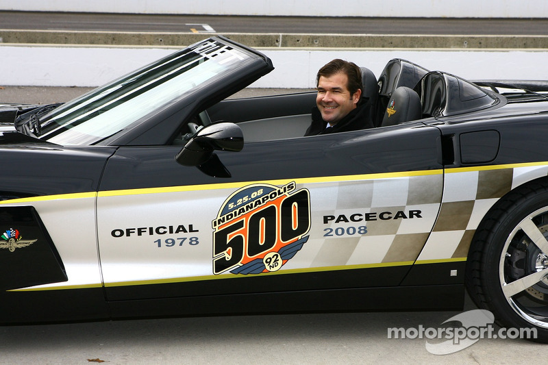 IMS President and Chief Operating Officer Joie Chitwood in the 30th anniversary commemorative edition Pace Car