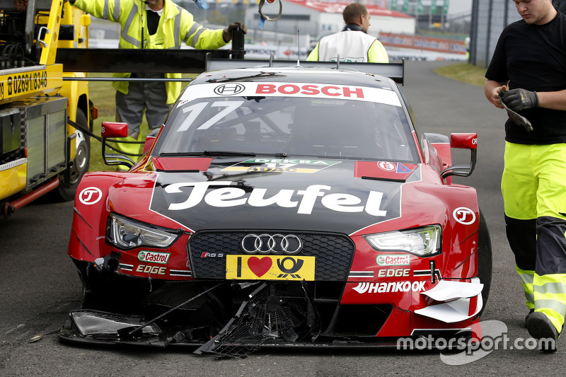 Crashed car of Miguel Molina, Audi Sport Team Abt Audi RS 5 DTM