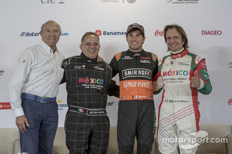 Jo Ramírez, Héctor Rebaque, Sergio Pérez Sahara Force India y Emerson Fittipaldi