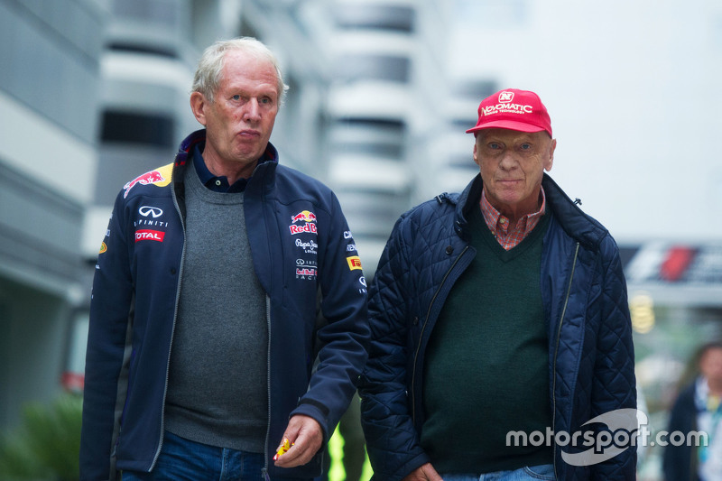 (L to R): Dr Helmut Marko, Red Bull Motorsport Consultant with Niki Lauda, Mercedes Non-Executive Chairman