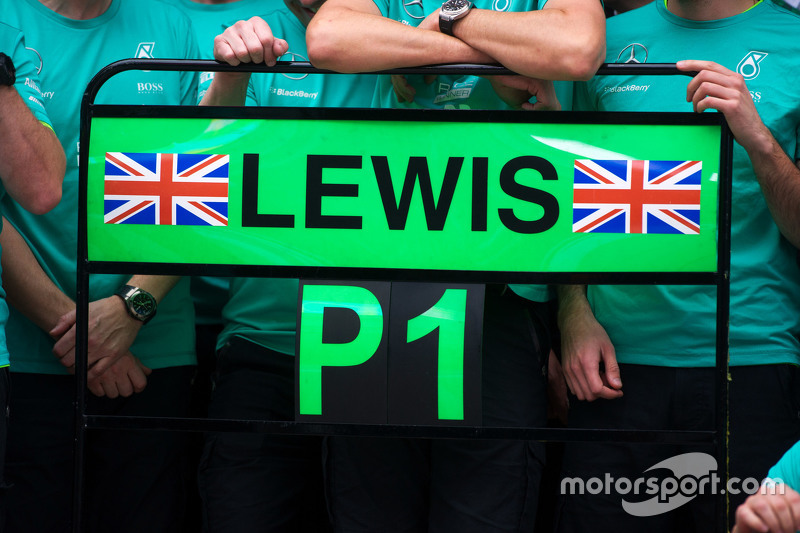 Pit board for race winner Lewis Hamilton, Mercedes AMG F1 at post race celebrations