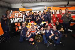 Marc Marquez, Repsol Honda Team, celebrates his 50th win with his team