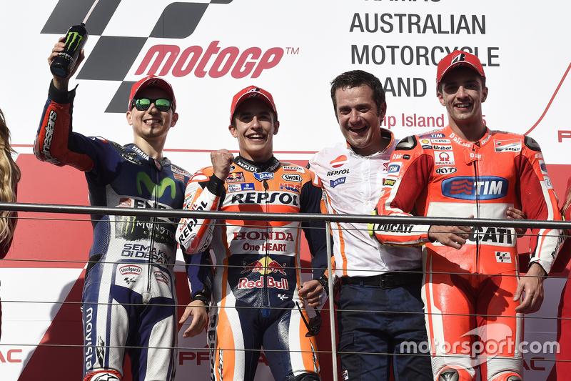 Podium: second place Jorge Lorenzo, Yamaha Factory Racing, race winner Marc Marquez, Repsol Honda Team and third place Andrea Iannone, Ducati Team