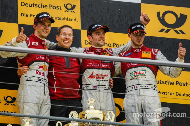 Race 2 Podium: second place Mattias Ekström, Audi Sport Team Abt Sportsline and winner Jamie Green, Audi Sport Team Rosberg and third place Edoardo Mortara, Audi Sport Team Abt