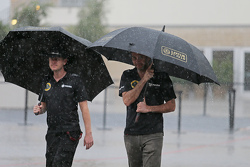 (L to R): Andy Stobart, Lotus F1 Team Press Officer with Matthew Carter, Lotus F1 Team CEO