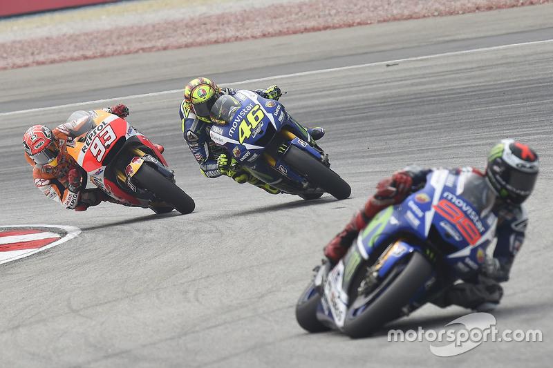 Jorge Lorenzo, Yamaha Factory Racing, Valentino Rossi, Yamaha Factory Racing, y Marc Marquez, Repsol Honda Team