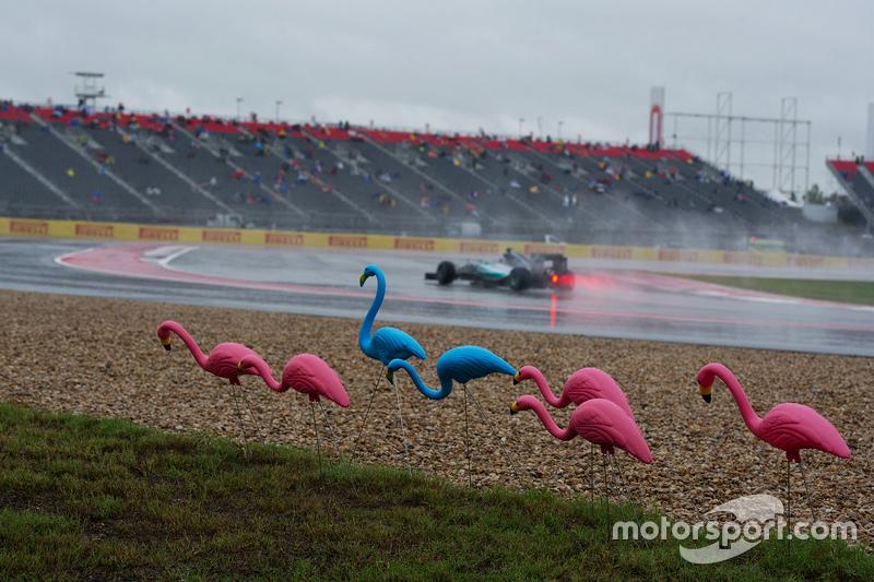 Ніко Росберг, Mercedes AMG F1 W06 проїжджає пластикових фламінго