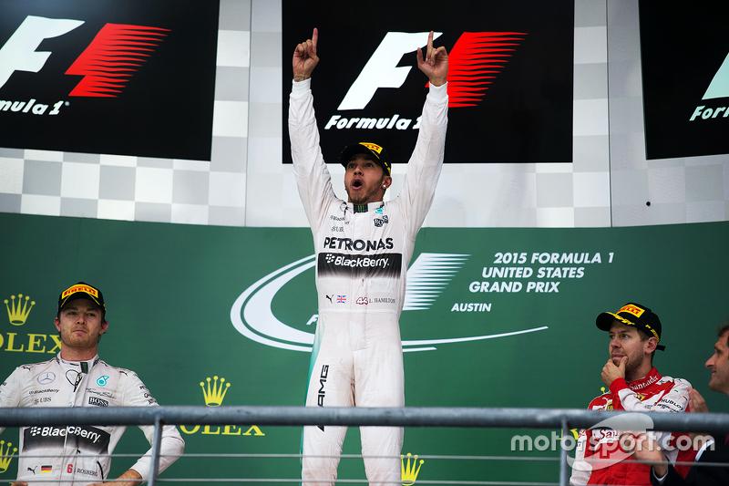 Podio: Ganador de la Carrera y Campeón del Mundo Lewis  Lewis Hamilton, Mercedes AMG F1,con el segundo lugar Nico Rosberg, Mercedes AMG F1 W06 y el terecer lugar Sebastian Vettel, Ferrari