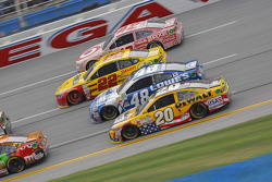 Matt Kenseth, Joe Gibbs Racing Toyota and Jimmie Johnson, Hendrick Motorsports Chevrolet and Joey Logano, Team Penske Ford and Kyle Larson, Chip Ganassi Racing Chevrolet