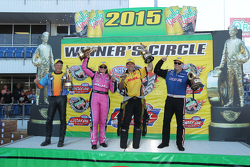 Race winners Jerry Savoie, Erica Enders-Stevens, Del Worsham and Richie Crampton