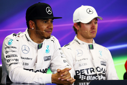 Second place Lewis Hamilton, Mercedes AMG F1 and team mate and polesitter Nico Rosberg, Mercedes AMG F1 in the post qualifying FIA Press Conference