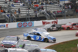 Sam Hornish Jr., Richard Petty Motorsports Ford; Ryan Preece, Premium Motorsports Ford